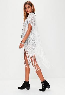 White Crochet Fringe Kimono