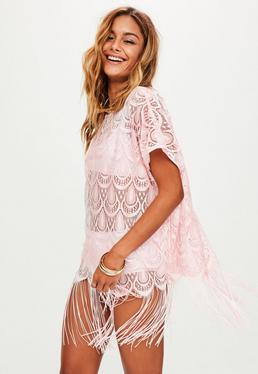 Pink Crochet Tassel Hem Cover Up
