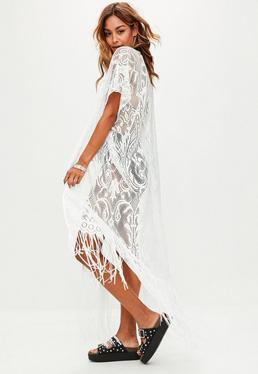 White Maxi Kimono Tassel Hem Cover Up