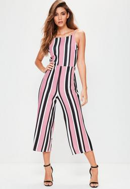 Pink Striped Culotte Jumpsuit
