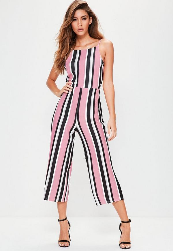 Pink Striped Culotte Jumpsuit
