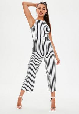 White Jersey Stripe Jumpsuit
