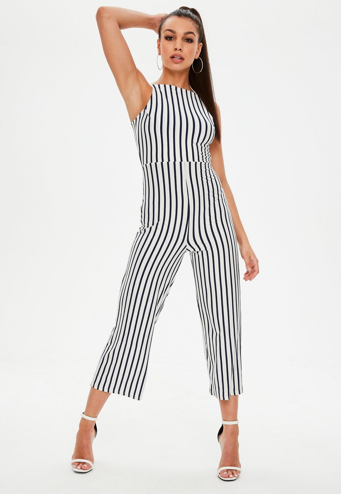 e9a8508d242 Missguided - White Jersey Stripe Jumpsuit