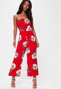 Red Floral Bandeau Jumpsuit