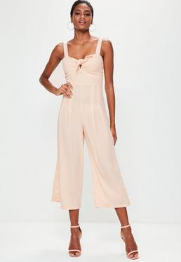 Nude Strappy Culotte Jumpsuit
