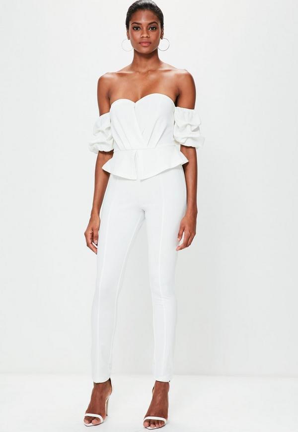 White Bardot Puff Sleeve Jumpsuit