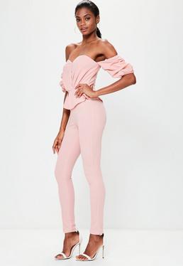 Pink Bardot Puff Sleeve Jumpsuit
