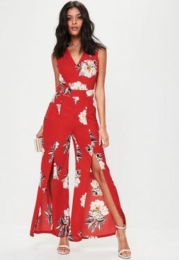 Red Floral Print Wide Leg Jumpsuit