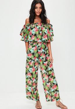 Black Floral Bardot Jumpsuit