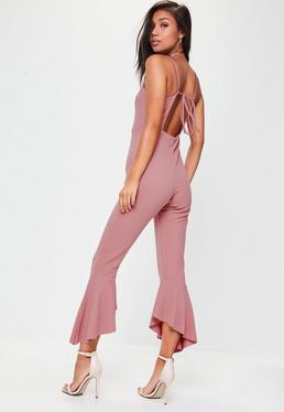 Pink Frill Hem Jumpsuit