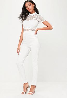White Lace Collared Jumpsuit