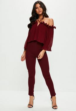Burgundy Pleated Frill Bardot Jumpsuit
