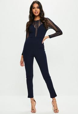 Navy Metallic Stripe Sheer Sleeve Jumpsuit