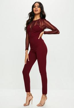 Burgundy Metallic Stripe Sheer Sleeve Jumpsuit