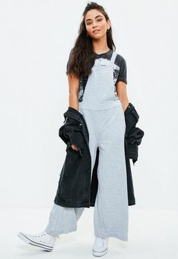 Grey Wide Leg Dungarees