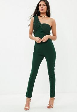 Green One Shoulder Jumpsuit