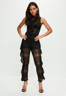 Black Lace Frill Side Jumpsuit