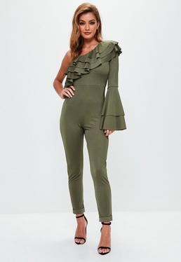 Khaki Frill Sleeve One Shoulder Jumpsuit