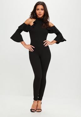 Black Frill Sleeve Jumpsuit