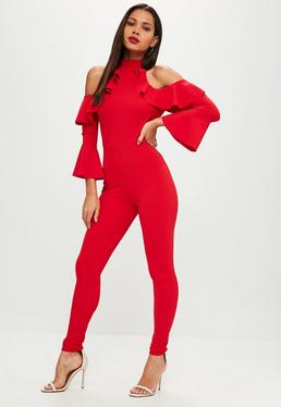 Red Frill Sleeve Jumpsuit