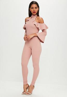 Pink Frill Sleeve Jumpsuit