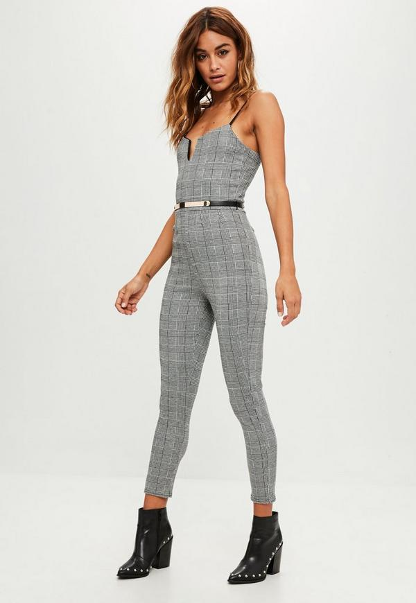 0137a6eb920 Grey Check Belted Jumpsuit