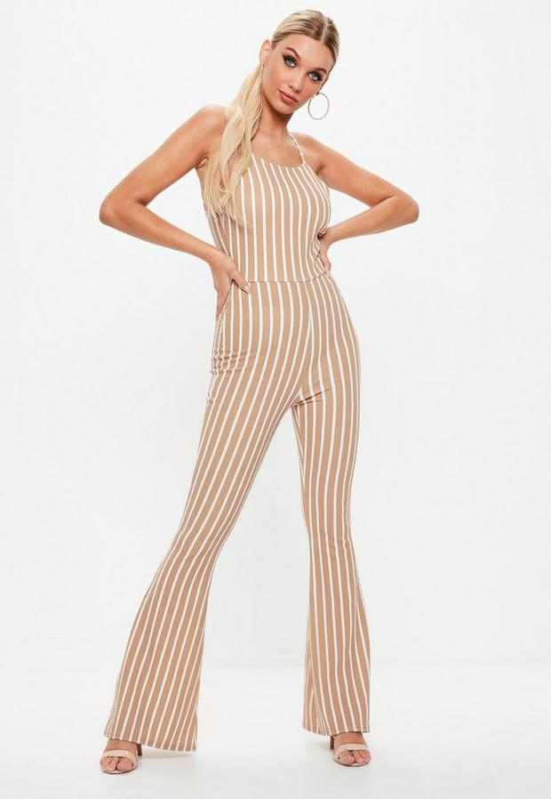 Product photo of Camel stripe flare leg jumpsuit beige