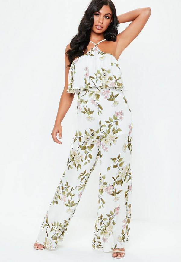 e7e5f7384da ... White Halterneck Floral Print Wide Leg Jumpsuit. Previous Next