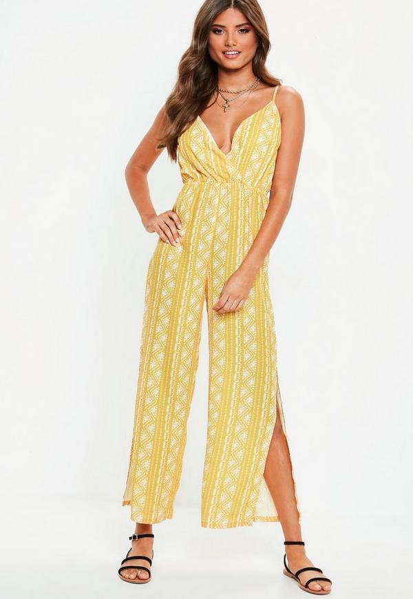 Yellow Split Leg Jumpsuit by Missguided