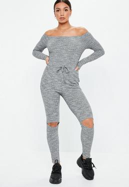 686921e60e0d Long Sleeve Jumpsuits. Ribbed Jumpsuits