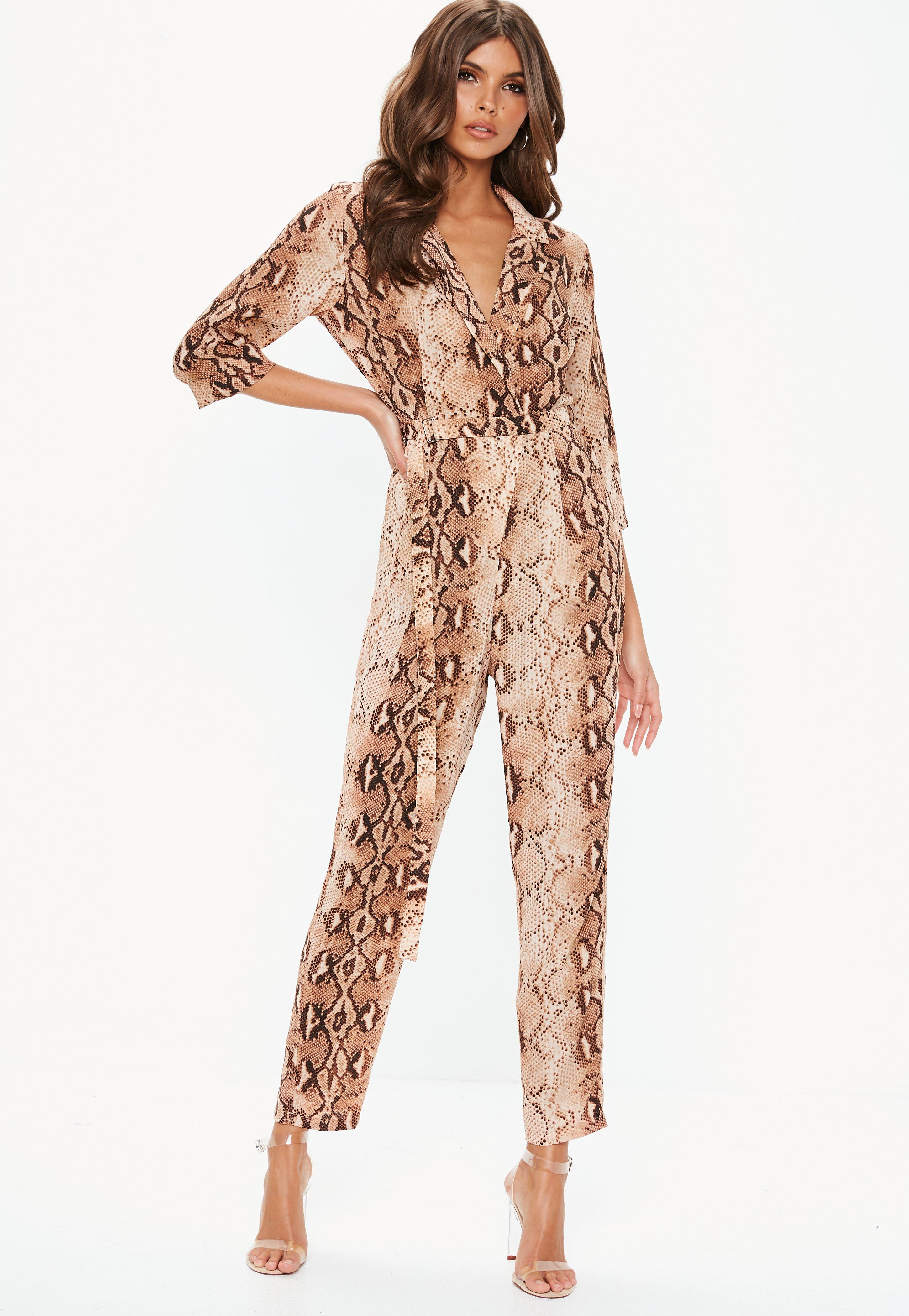 34e694bdee60 Rust Snake Print Tux Blazer Jumpsuit
