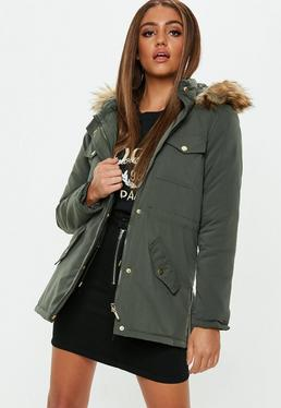 Missguided parka kaki capuche fourrure multicolore
