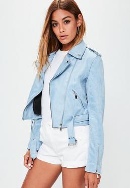 Niebieska zamszowa kurtka ramoneska z paskiem