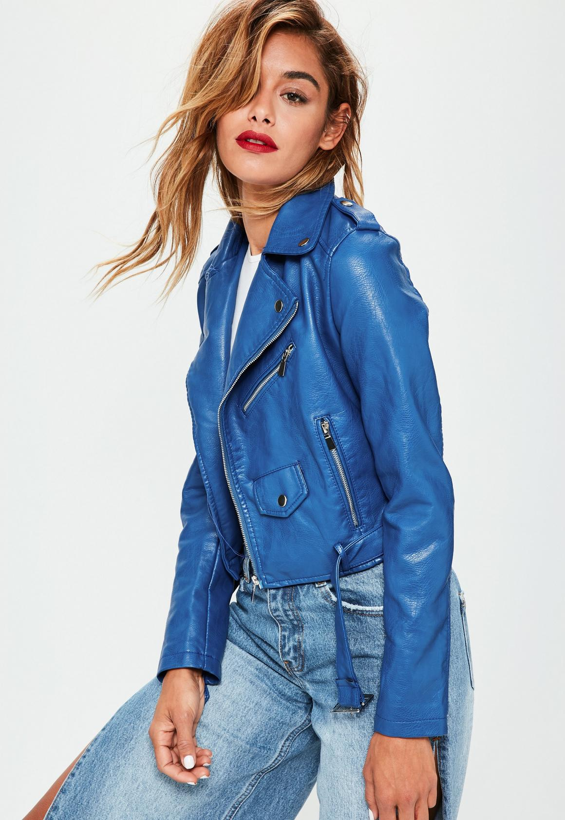 Blue Faux Leather Jacket | Missguided