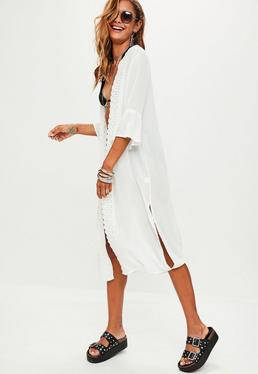 White Frill Sleeve Duster Jacket