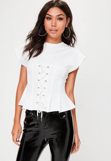 White Lace Up Corset T-Shirt | Missguided
