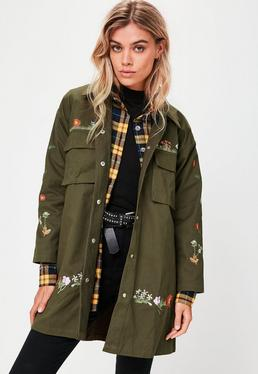 Khaki Embroidered Jacket