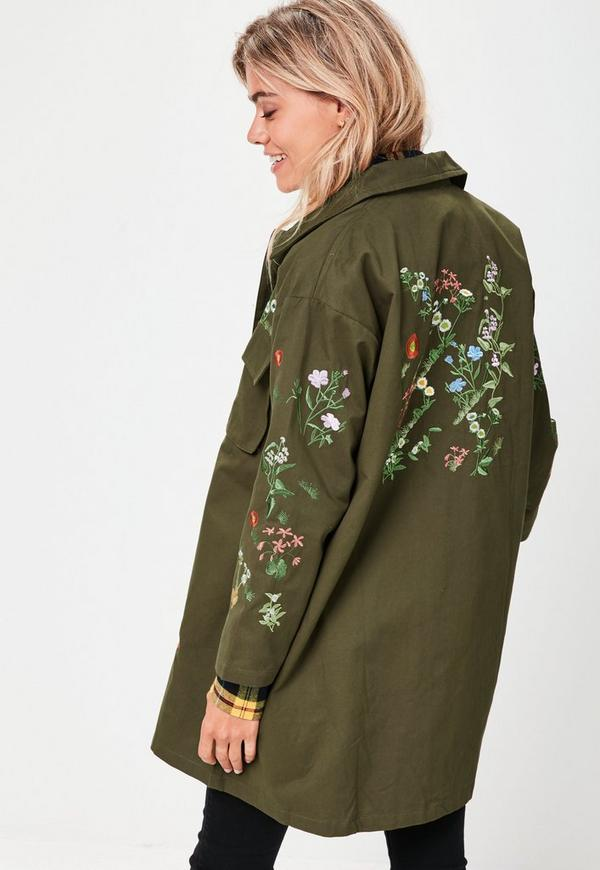Khaki embroidered jacket missguided