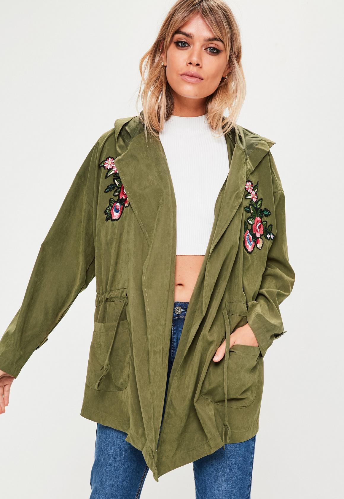 Khaki Applique Parka Jacket | Missguided