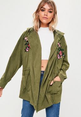 Khaki Applique Parka Jacket