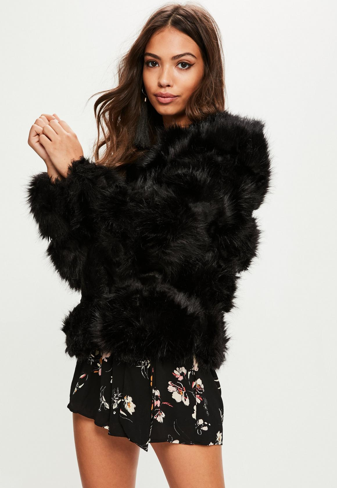 Black Pelted Short Faux Fur Jacket | Missguided Ireland