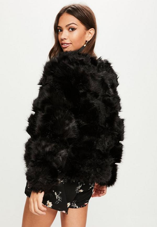 Black Pelted Short Faux Fur Jacket | Missguided
