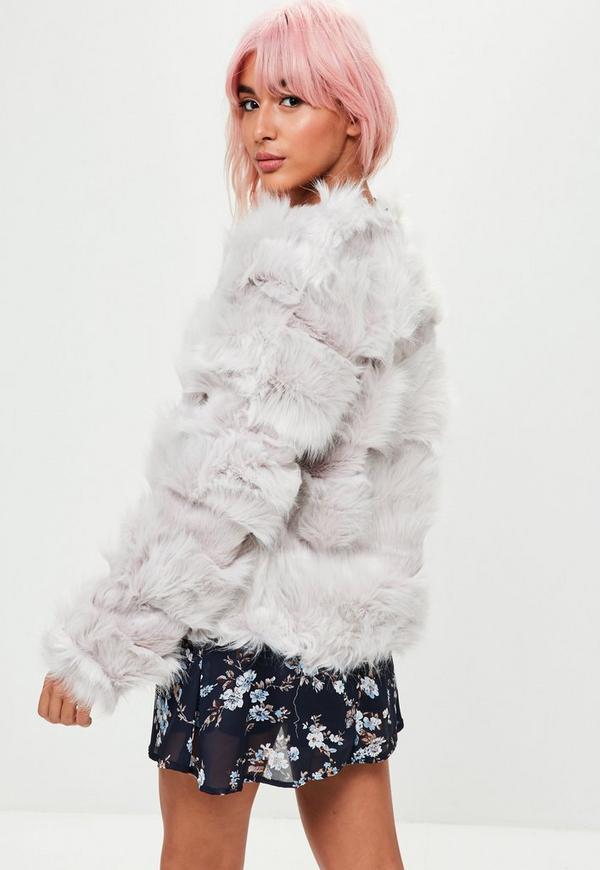 Light Grey Pelted Short Faux Fur Jacket Missguided