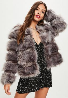 Grey Pelted Short Faux Fur Jacket