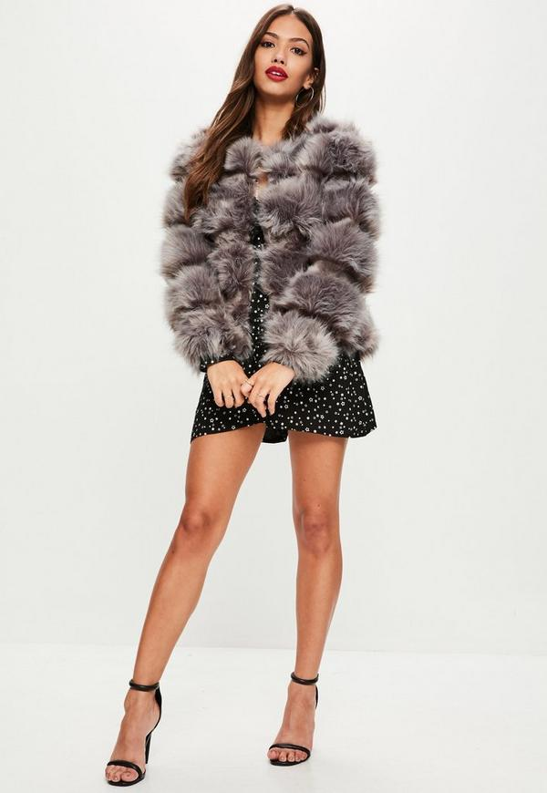 Grey Pelted Short Faux Fur Jacket   Missguided