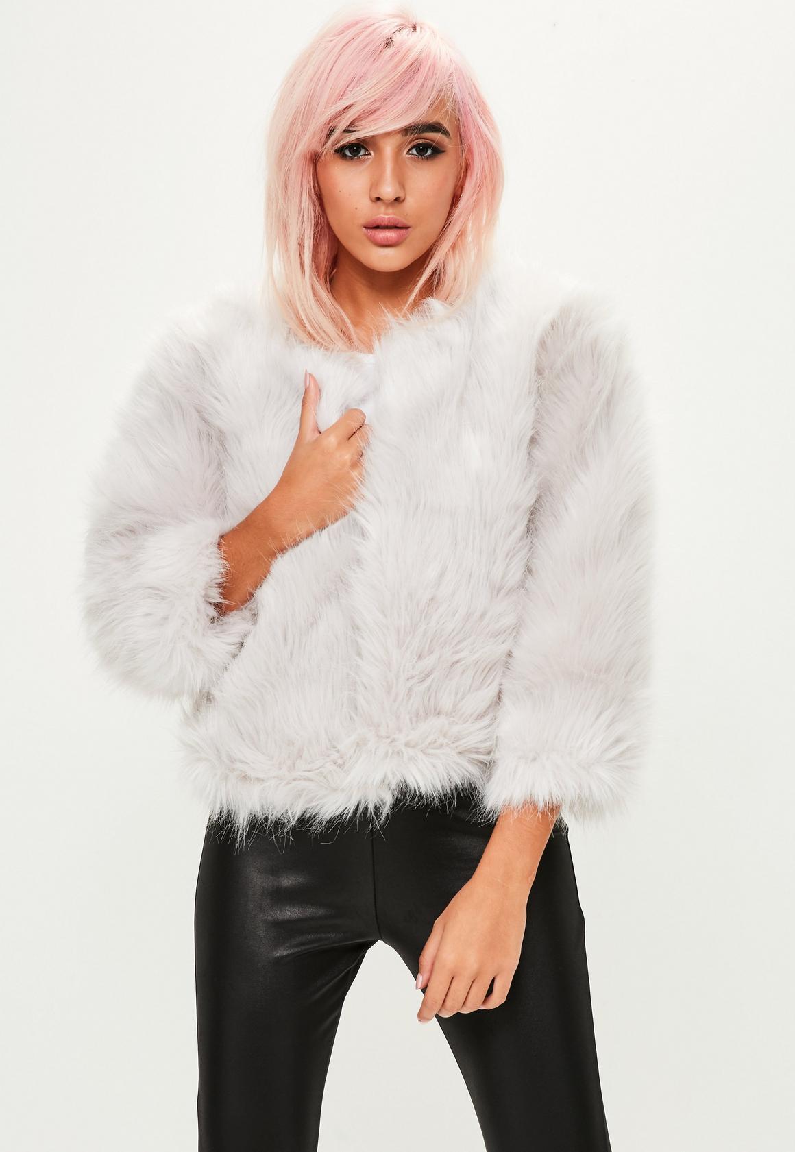 Grey Fluffy Faux Fur Short Jacket | Missguided Ireland
