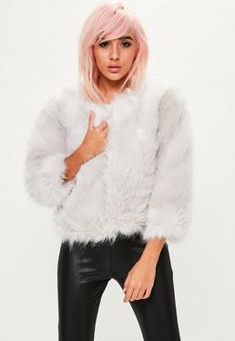 Grey Fluffy Faux Fur Short Jacket