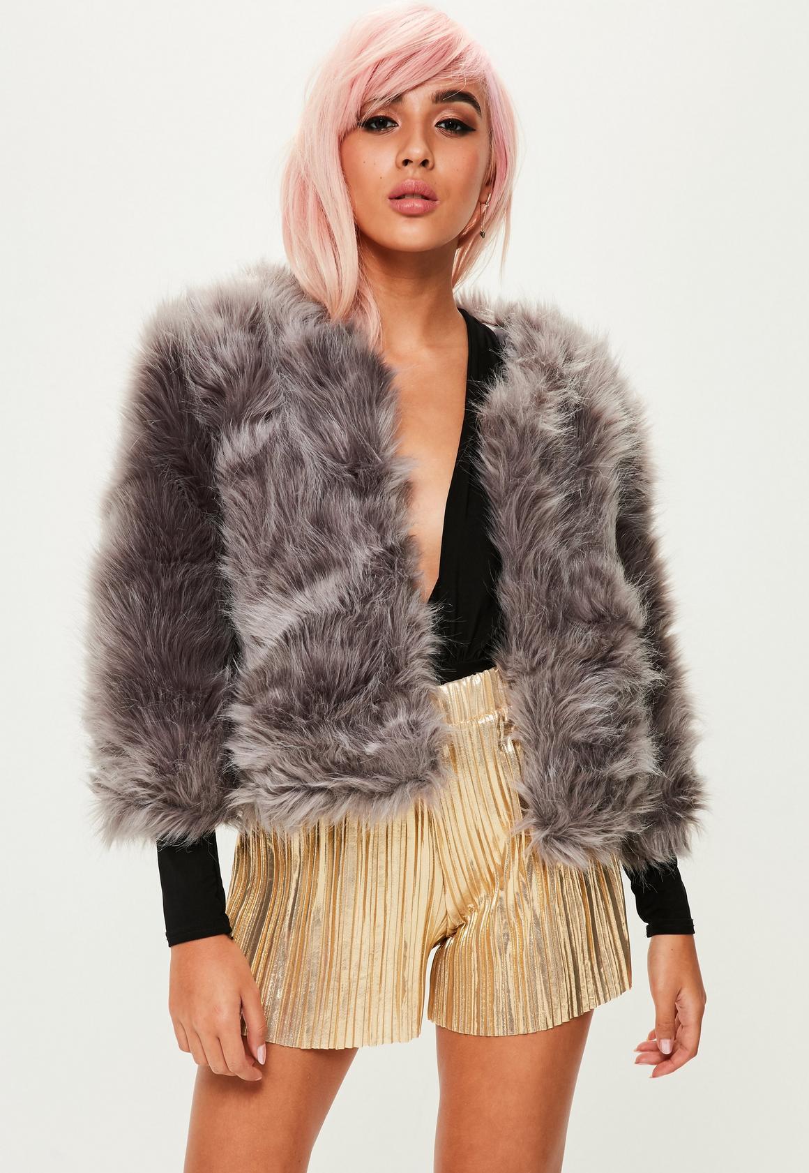 Dark Grey Fluffy Faux Fur Short Jacket | Missguided
