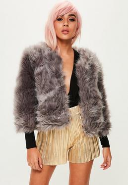 Dark Grey Fluffy Faux Fur Short Jacket
