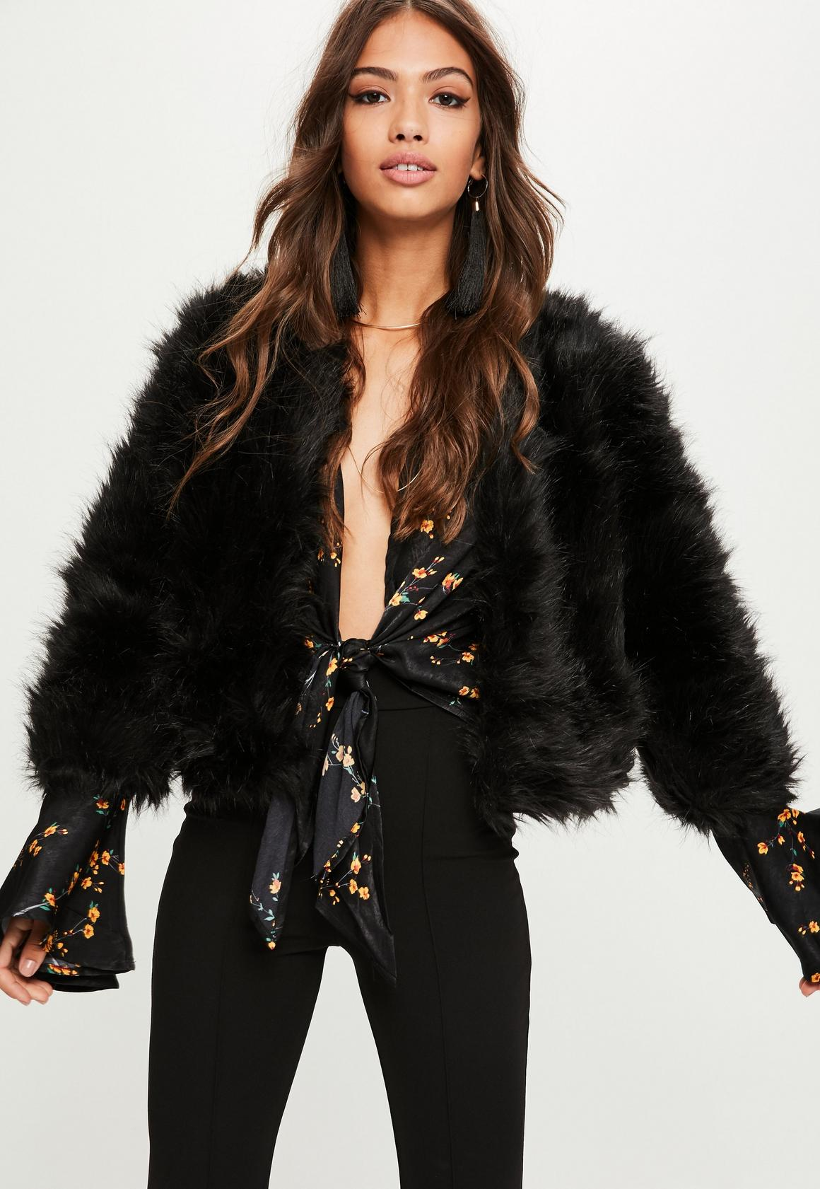Black Short Fluffy Faux Fur Jacket | Missguided